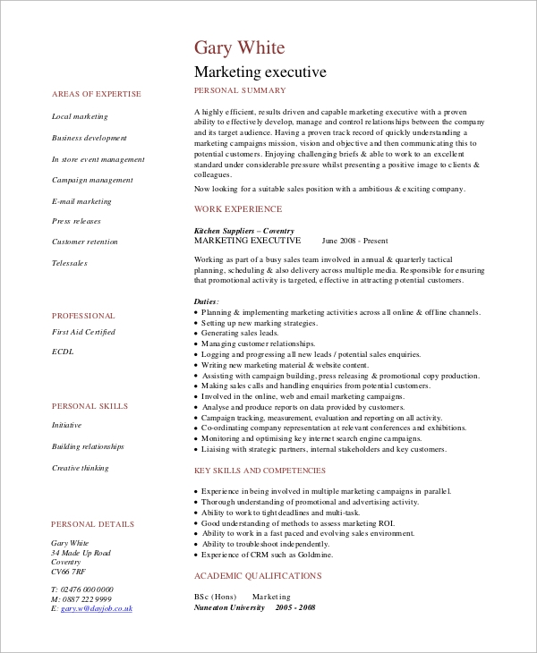 simple resume example - 8+ samples in word, pdf - Executive Resume Example