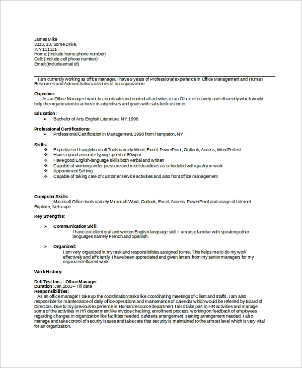 8+ Simple Resume Example