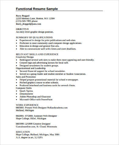 college student functional resume sample
