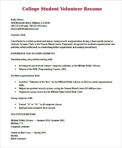 college student volunteer resume example