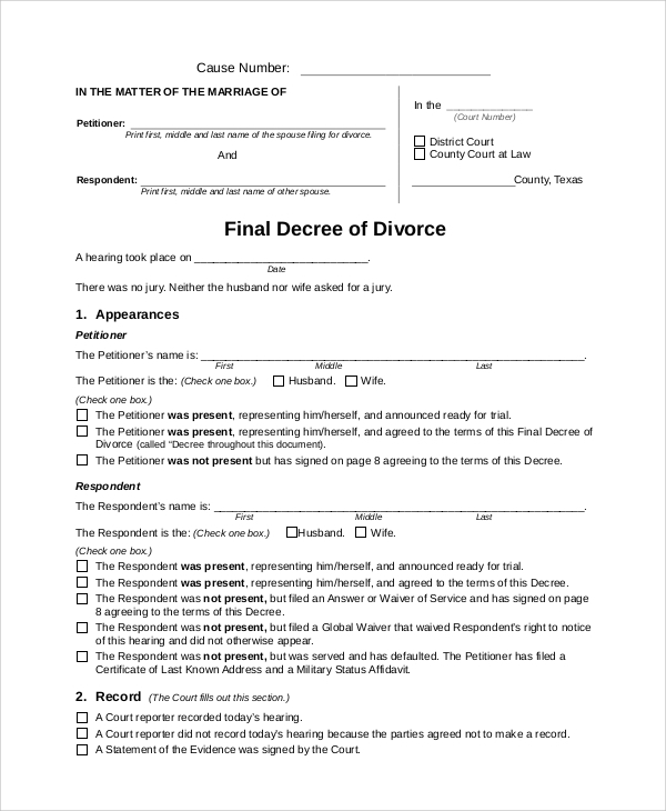 Superior Final Decree Of Divorce Form On Examples Of Divorce Papers