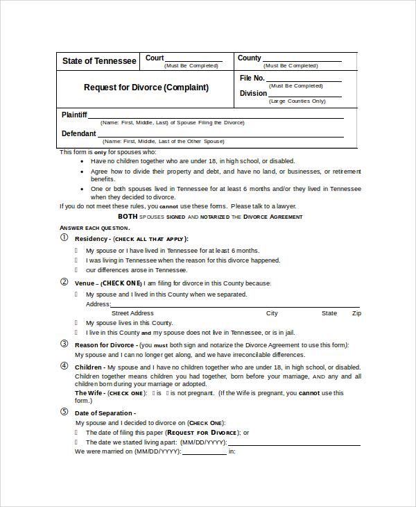 request for divorce form