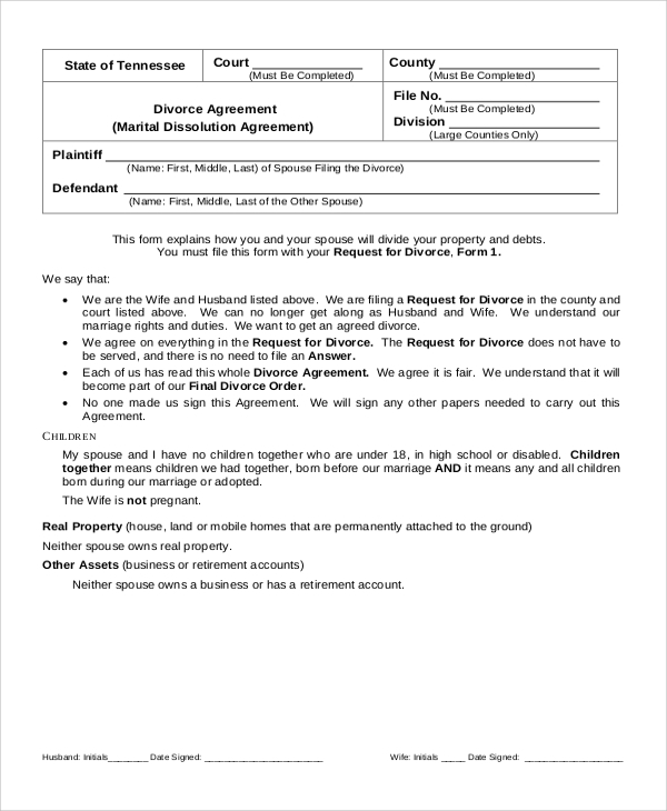 Sample Divorce Form 7 Examples in Word PDF – Sample Divorce Agreement