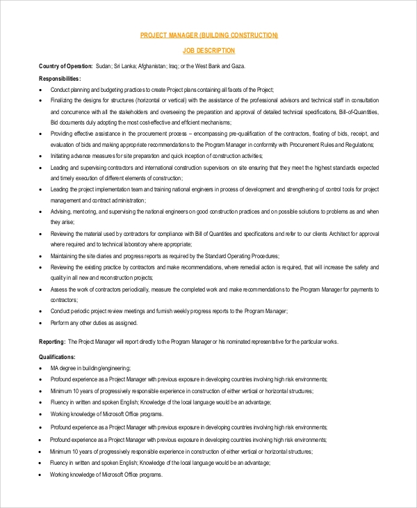 Sample Project Manager Job Description 9 Examples in PDF Word – Construction Project Manager Job Description
