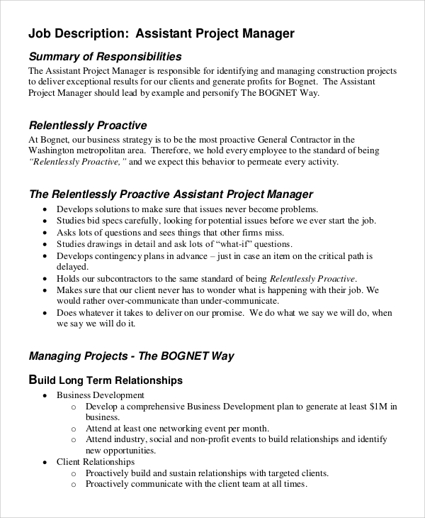 Marvelous Assistant Project Manager Job Description Sample