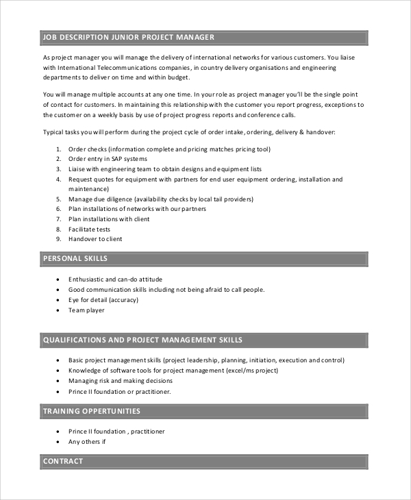 junior project manager job description