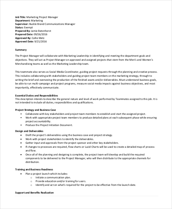 marketing project manager job description