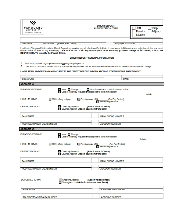Merveilleux Direct Deposit Authorization Form