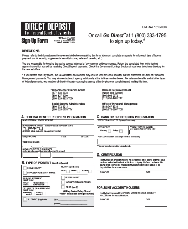 Sample Direct Deposit Form   Examples In Word Pdf