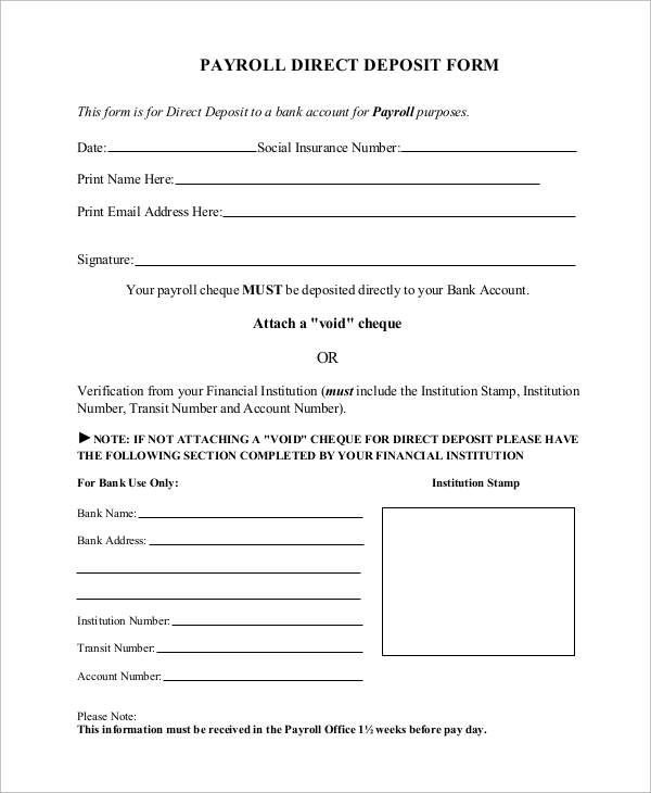 8 sample direct deposit forms sample templates for Direct deposit forms for employees template