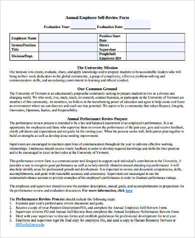 7 self performance review examples sample templates for Yearly employee review template