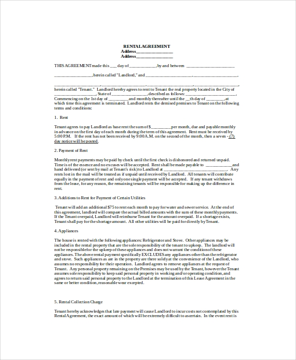 Sample Blank Lease Agreement 7 Examples in Word PDF – Blank Lease Agreements