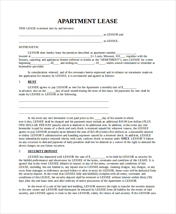 sample blank lease agreement