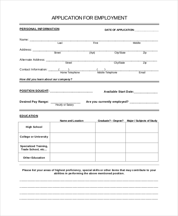 Sample Job Application 8 Examples in PDF – Printable Application for Mployment