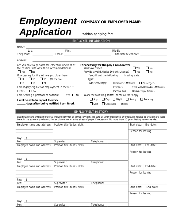 Sample Job Application   Examples In Pdf
