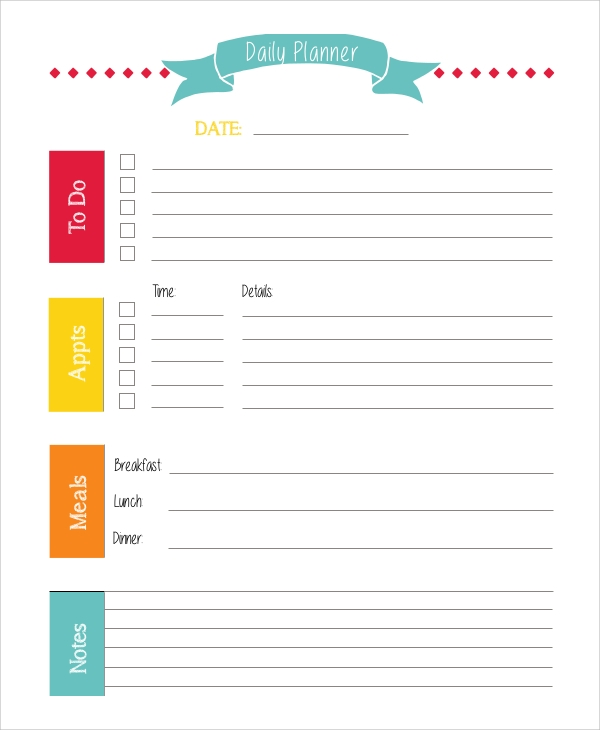 printable daily planner example