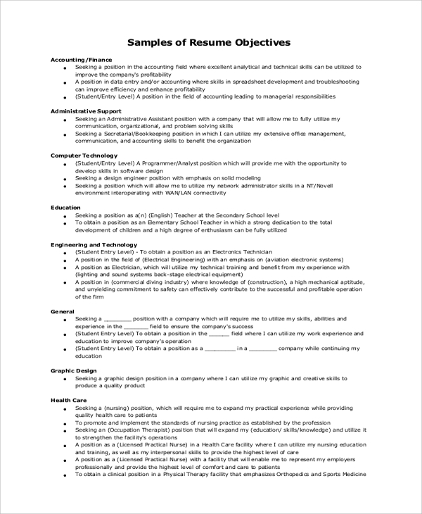 General Resume Objective Example  Resumes Objectives Examples