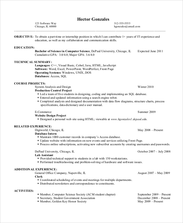 entry level resume objective example - Objectives For Entry Level Resumes