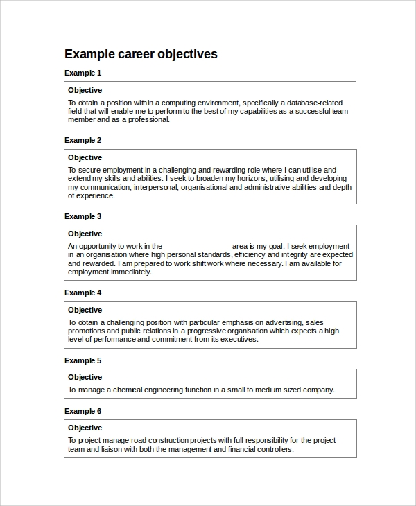 Resume Objective Example 10 Samples in Word PDF – Resume Career Objectives