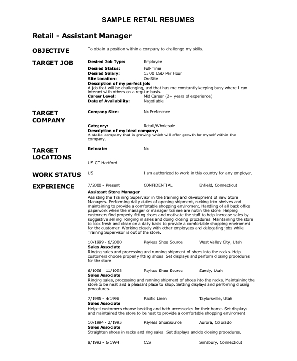 sample objective objective example for resume objective example - Retail Resume