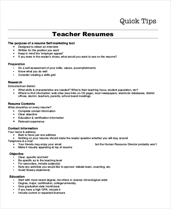 Resume Objective Example 10 Samples in Word PDF – Teacher Objectives Resume