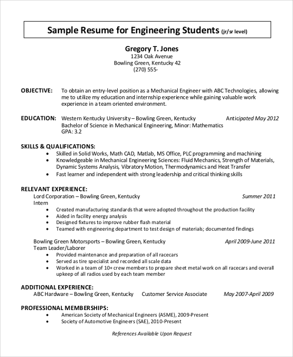 Student Resume Objective Example