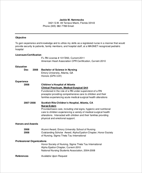 Nursing Resume Objectives Resume Template Nurse Resume Cv Cover