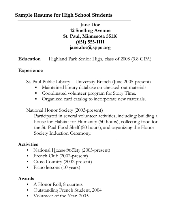 Sample Resume Outline For High School Student  Resume Outline Template