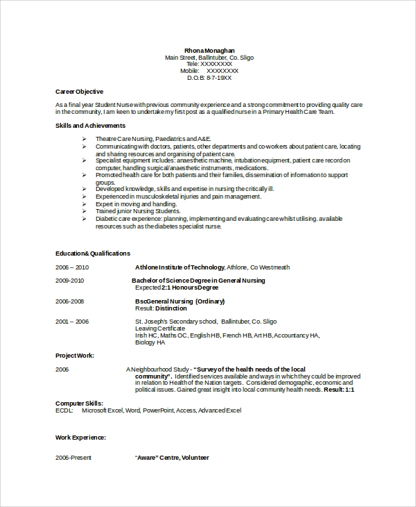 sample nurse resume