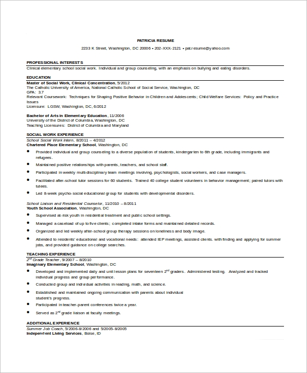 graduate resume sample