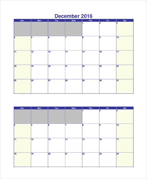 free printable calendar example