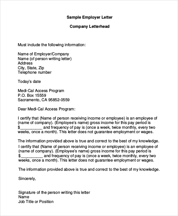 sample employer company letterhead