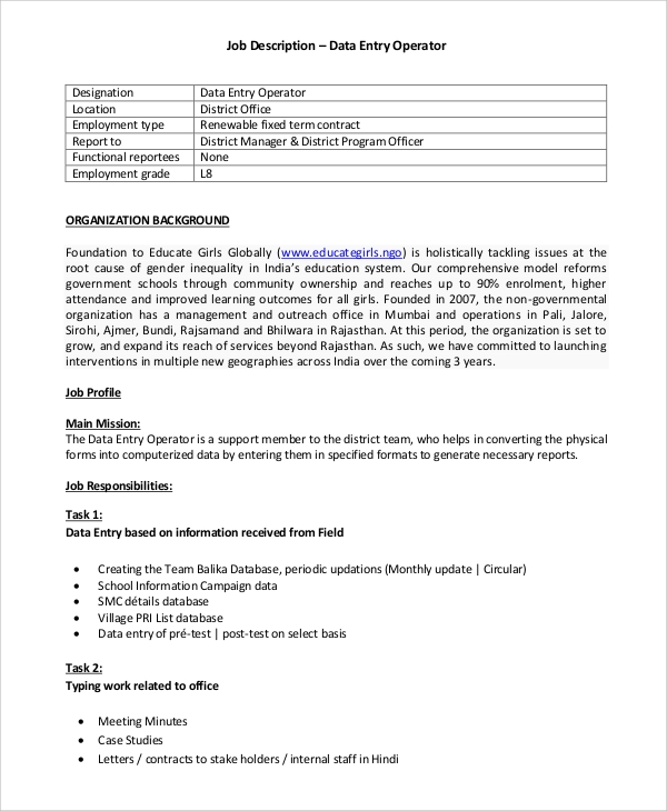 data analyst job description template