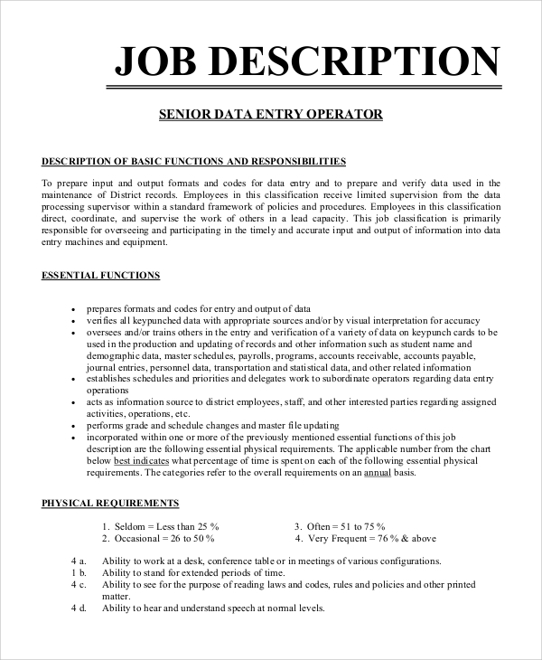 Sample Data Entry Job Description   Examples In Pdf Word