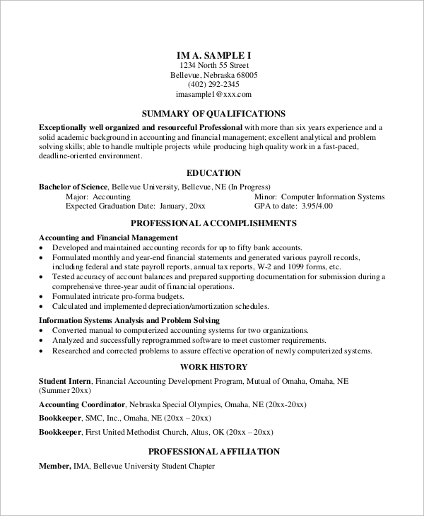 Examples Of Resumes Free Sample Simple Resume Format Example