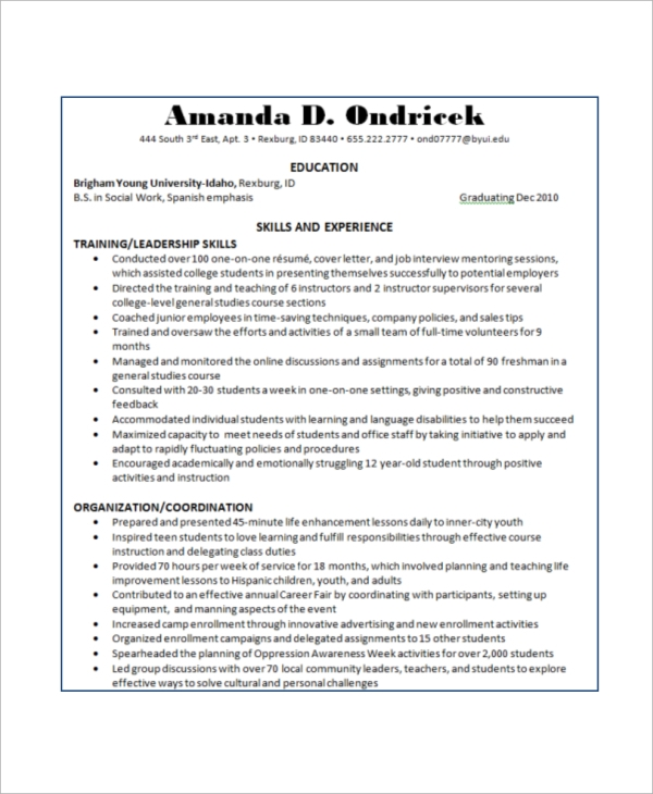 basic resume exle 8 sles in word pdf