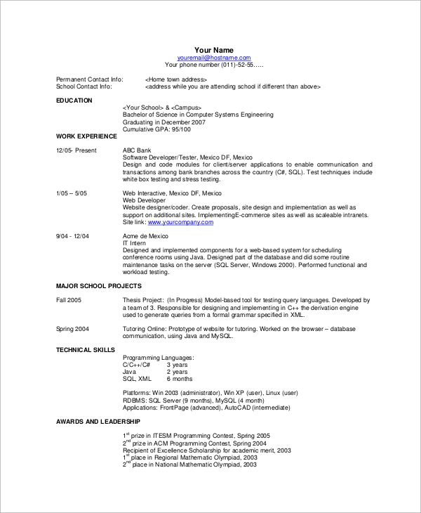 Basic Resume Example - 8+ Samples In Word, Pdf