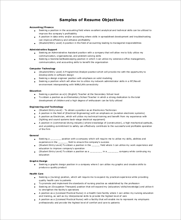 8+ Basic Resume Examples  Sample Templates