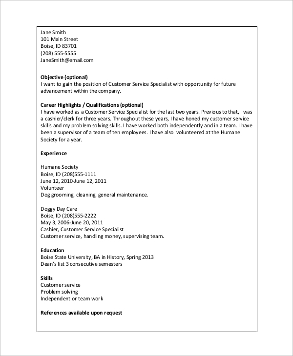 Basic Resume Example   Samples In Word Pdf