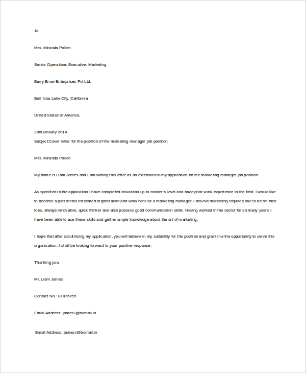 Resume Cover Letter Format Sample: 8+ Samples In Word, PDF