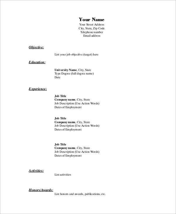 Free 8 Basic Resume Samples In Ms Word Pdf