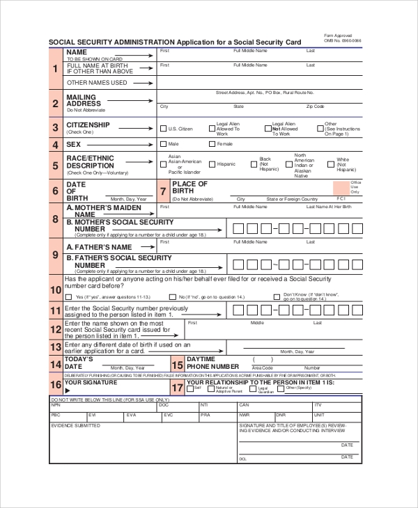 Sample Social Security Application Form - 8+ Examples In Pdf