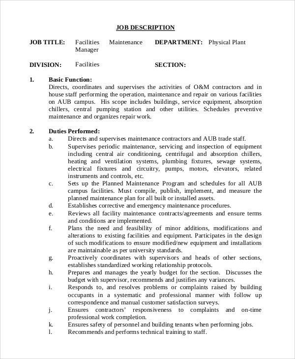 Sample Maintenance Job Description   Examples In Pdf Word