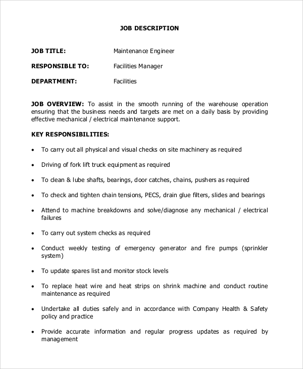 Maintenance Engineer Job Description