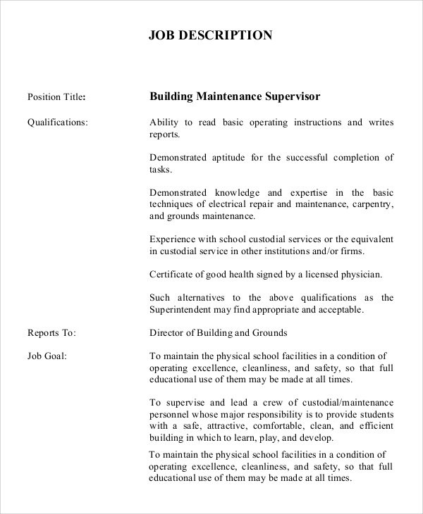 Sample Maintenance Job Description - 9+ Examples In Pdf, Word