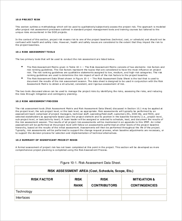 sample risk management plan 8 examples in pdf