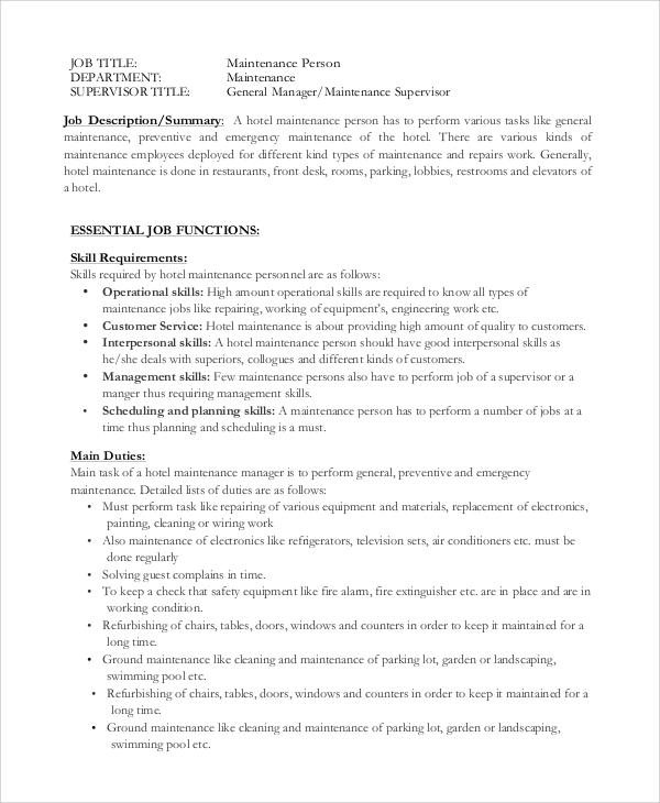 hotel maintenance job description