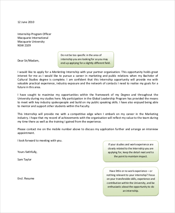 basic cover letter for intership - Cover Letter For Marketing Internship