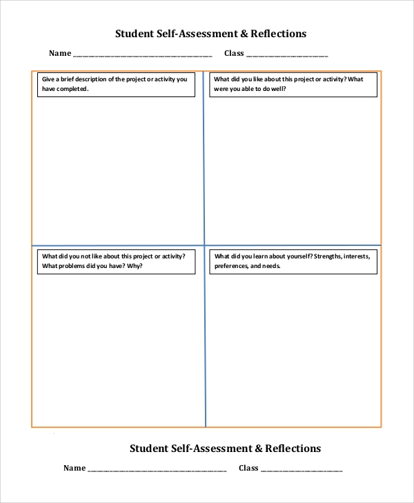 8 self assessment examples sample templates for Student self evaluation templates