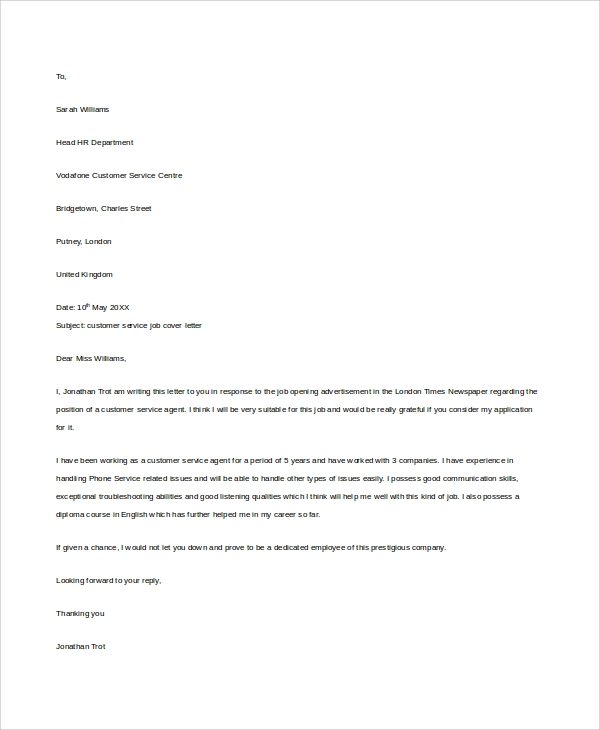 cover letter for customer service job - Cover Letter To Hr Department